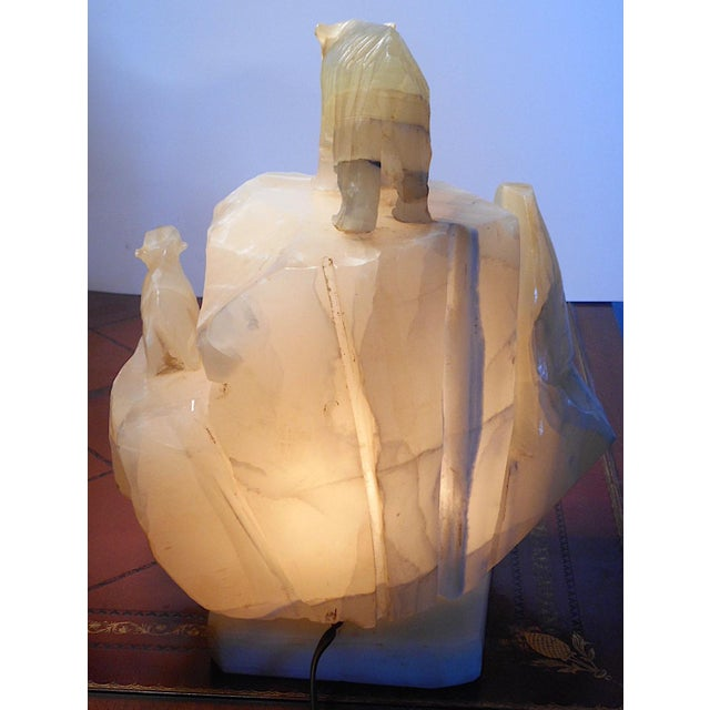 Mid 20th Century Vintage Carved Alabaster Iceberg/Polar Bear Sculpture Table Lamp For Sale - Image 5 of 8