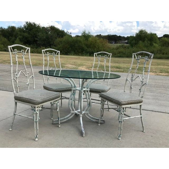 1960s Mid-Century Modern Kessler Industries Cast Aluminum Faux Bamboo Dining Set - 5 Piece Set For Sale - Image 12 of 12