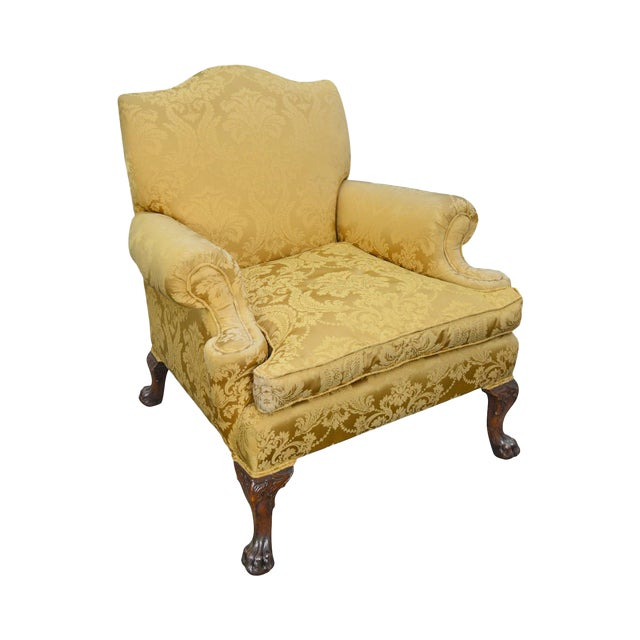 Georgian Style Custom Carved Mahogany Paw Foot Lounge Chair Bergere For Sale