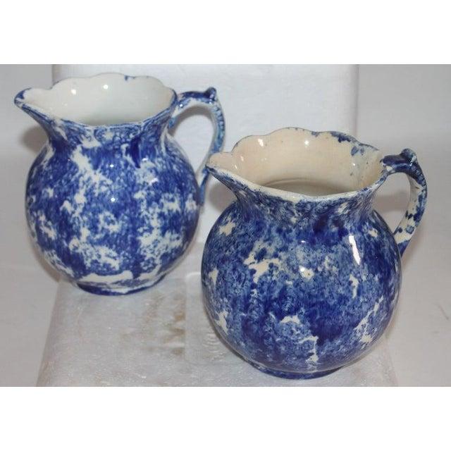 Ceramic 19th Century Bulbous Sponge Ware Pitcher Collection - 8 Piece Set For Sale - Image 7 of 8