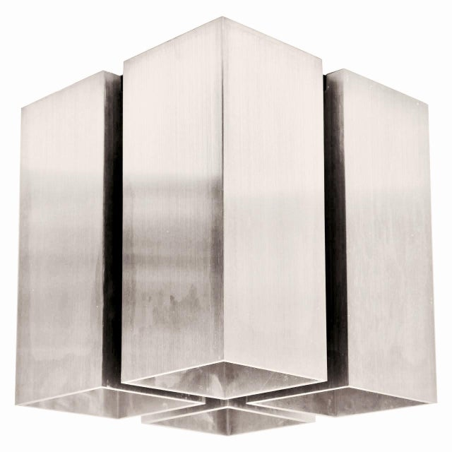 Nos Silver 4 Cube Lightolier Ceiling Lights - A Pair - Image 2 of 4
