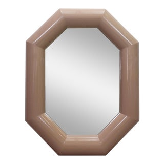 Mid-Century Blush Pink Mirror For Sale