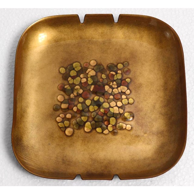 Luxurious gold enamel ashtray by Bovano. Unusual large size, originally designed as an ashtray, but will function as a...