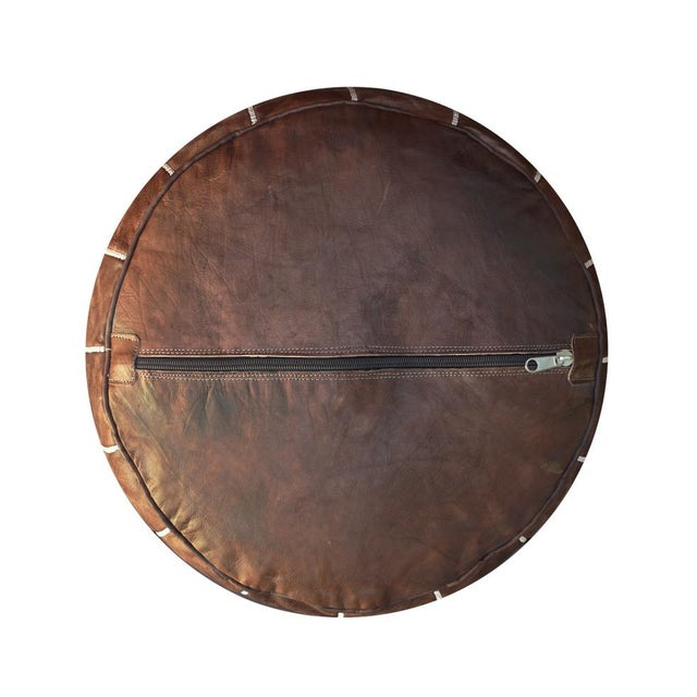 Brown Leather Moroccan Pouf/Ottoman - Image 4 of 4