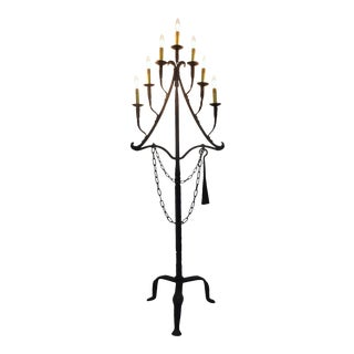 Antique 18th Century Wrought Iron Floor Lamp