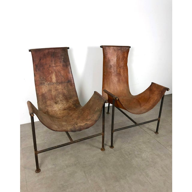 Lovely Pair Distressed Leather Iron T Frame Sling Chairs 1950s Decaso