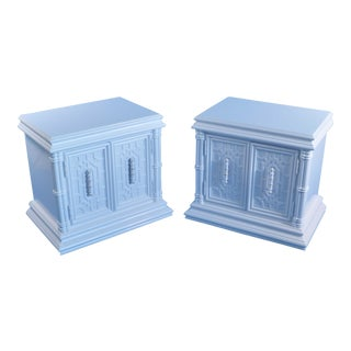 Late 20th Century Hollywood Regency Style Fretwork Nightstands- A Pair For Sale