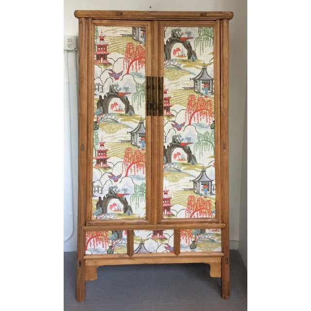 Retro Chinese Upholstered Armoire - Image 2 of 10