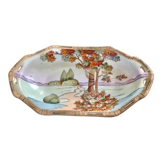 """Late 19th/Early 20th Century Imperial Nippon Moriage Garden Scene """"Celery Tray"""" With Pierced Handles For Sale"""