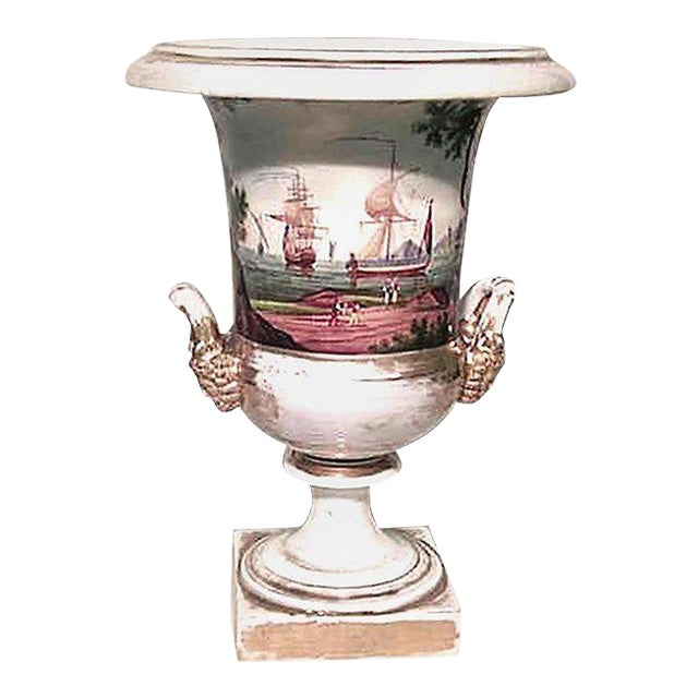 French Empire Style Porcelain Urn with Nautical Scene For Sale
