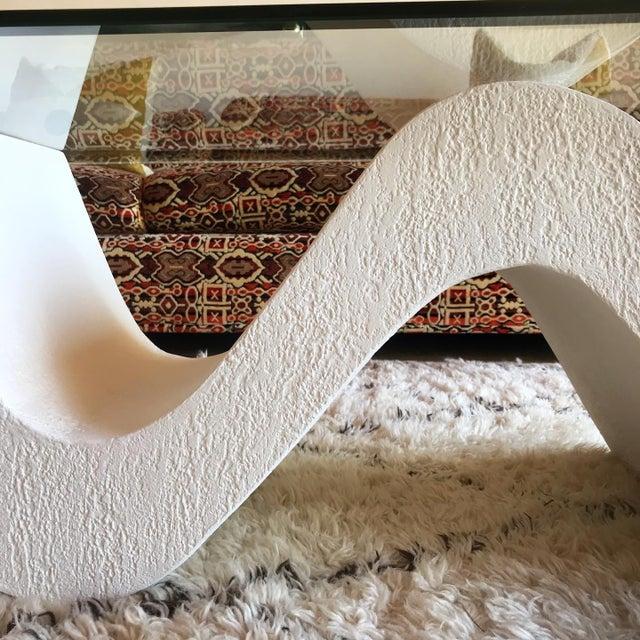1970s Vintage Post Modern Sculptural Plaster Wave Coffee Table For Sale - Image 5 of 12
