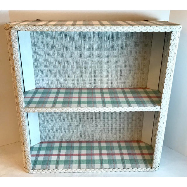 White Cottage White Wicker Hanging 2 Tier Wall Shelf For Sale - Image 8 of 8