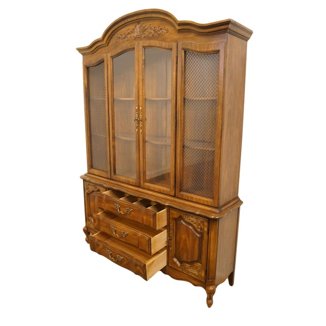 """Glass 20th Century French Bernhardt Furniture 60"""" Buffet With Lighted China Cabinet For Sale - Image 7 of 12"""