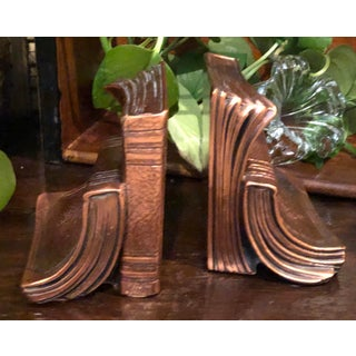"""Vintage Philadelphia Metalware Pm Book Ends """"Copper Finish"""" Paper Weights Library Preview"""