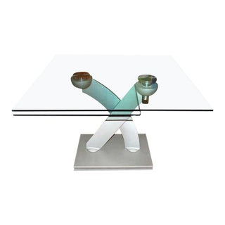 Maurice Villency Sculpted Swivel Expandable Glass and Steel Dining Table For Sale