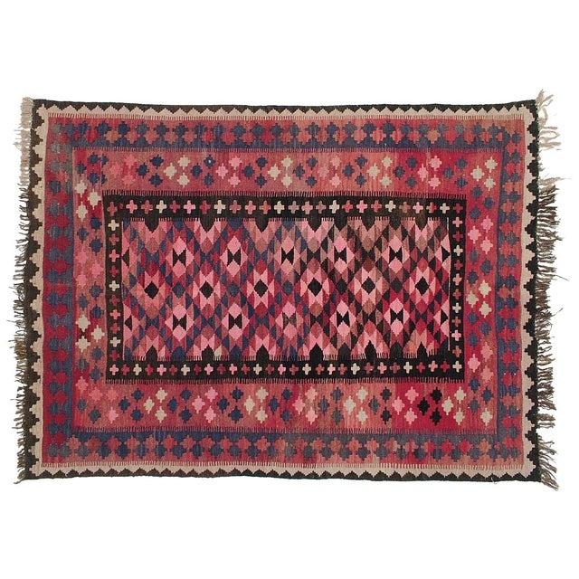 """Vintage Afghan Kilim - 4'9"""" x 6'6"""" - Image 1 of 3"""