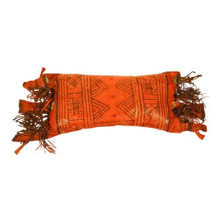 African Tuareg Hand-Tooled Leather Pillow with Fringes For Sale
