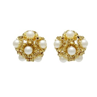 Vintage 14k Gold Cultured Pearl Clip Back Earrings For Sale