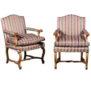 Striped Italian Bergere Chairs - A Pair For Sale