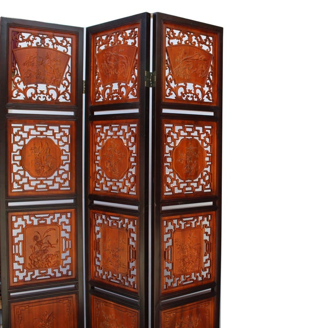 Chinese Scenery Carving 2 Brown Tone Wood Panel Floor Screen Display Shelf For Sale - Image 9 of 10