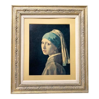 Mid-Century Girl With a Pearl Earring Framed Print For Sale