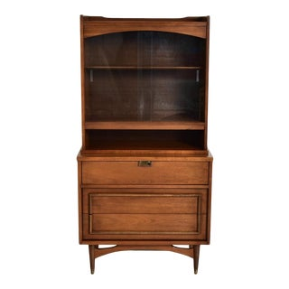 1950s Vintage Walnut Compact Hutch For Sale