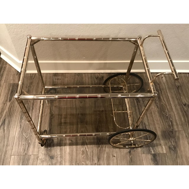 European Bar Cart With Bamboo Accents - Image 3 of 8