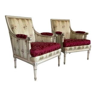 Vintage French Bergere Louis XVI Chairs - a Pair For Sale