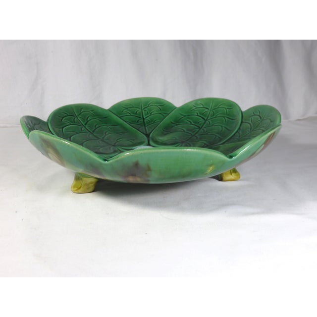 1880s Large Antique Majolica Footed Serving Bowl For Sale - Image 4 of 13