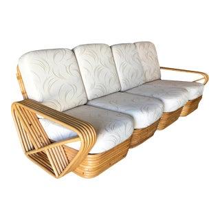 Restored Vintage Paul Frankl Style Five-Strand Square Pretzel Four-Seat Sectional Sofa For Sale