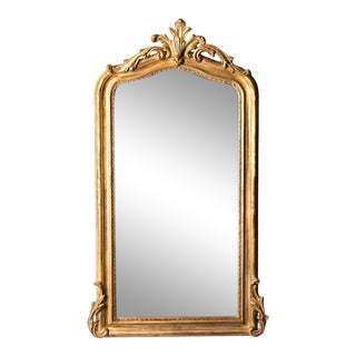 French Renard Hand-Carved Beveled Mirror in Hand Gilt Frame For Sale