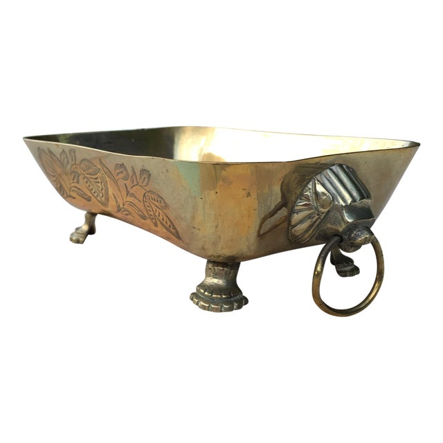 Mid-Century Brass Lions Head Handled Bowl For Sale