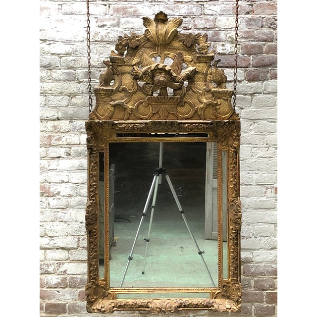 Gold 18th Century Carved Gilt Wood Louis XIV Mirror For Sale - Image 8 of 10