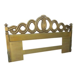 French King Size Distressed Gold Painted Headboard by Thomasville For Sale