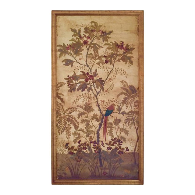 Large Decorative Painted Panel in Gilt Frame For Sale