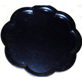 Lacquered Scallop Black Ebony Tray Round Japanese Asian Chinese Wood Resin Preview