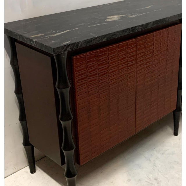 Billy Baldwin Style Faux Crocodile Credenza or Sideboard For Sale In Atlanta - Image 6 of 11