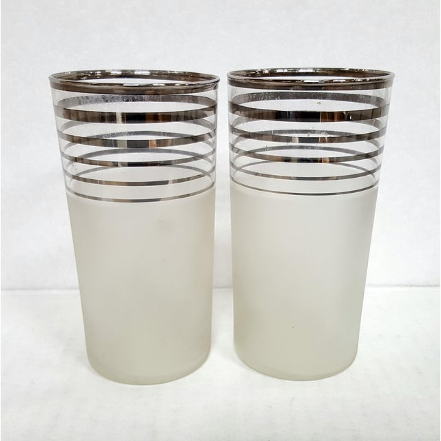 1930s Art Deco Frosted With Silver Rings Barware Glass Set 1930's For Sale - Image 5 of 6