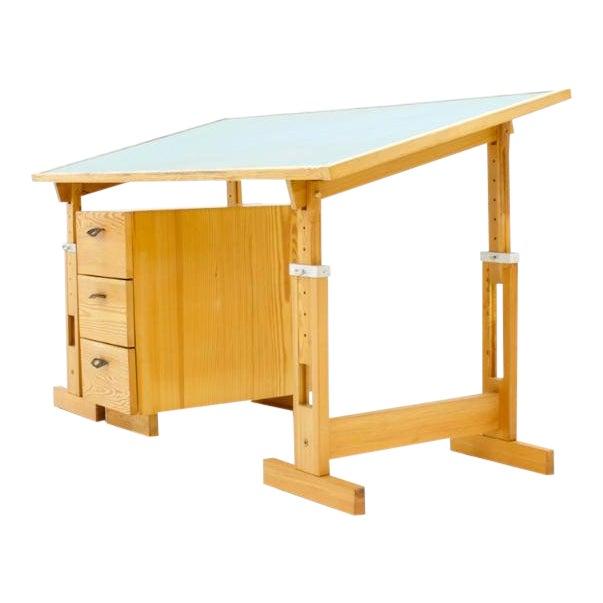 Asko Adjustable Pine Wood Writing Desk Finland, 1970s For Sale