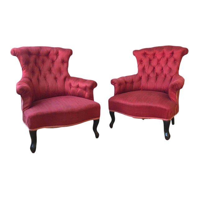 Pair of French Upholstered Armchairs in Red Fabric For Sale