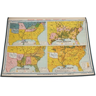 "Vintage Schoolhouse ""Abolition, Cotton Production, Reconstruction, Per Capita Wealth"" Map"