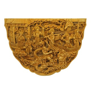 Quality Carved Bamboo Birdcage Base Panel With Eighteen Arhats (Lohan) and Dragon For Sale