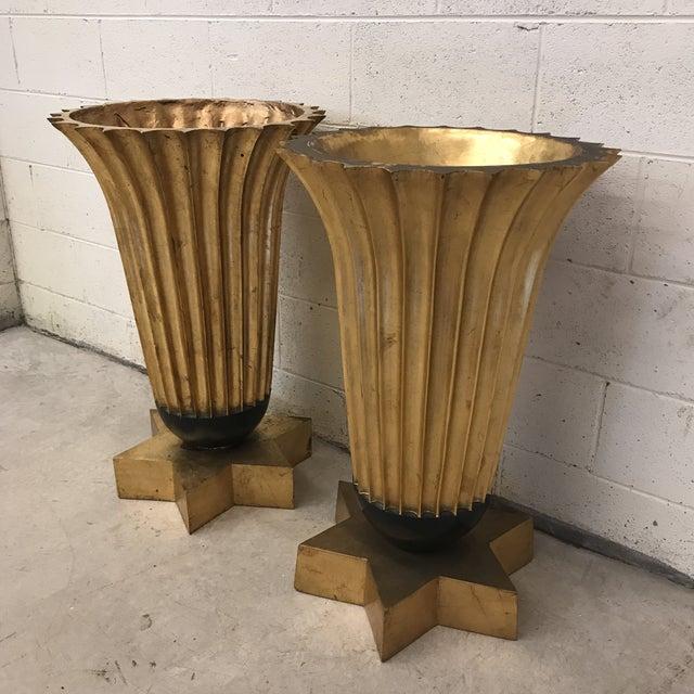 Gold Leaf Fiberglass Urns - A Pair - Image 3 of 11