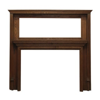 Early 20th Century Double Decker Oak Mantel With Dental Molding For Sale