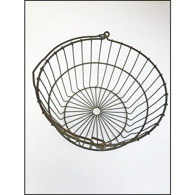 Vintage Rustic Wire Metal Egg Basket With Handle For Sale - Image 4 of 10