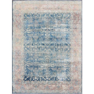 Keivan Woven Arts Antique Kerman Rug in Blue Field and Salmon- 7′10″ × 10′ For Sale