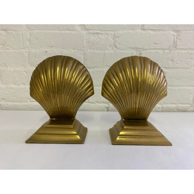 Metal Brass Finished Scallop Shell Bookends- a Pair For Sale - Image 7 of 7