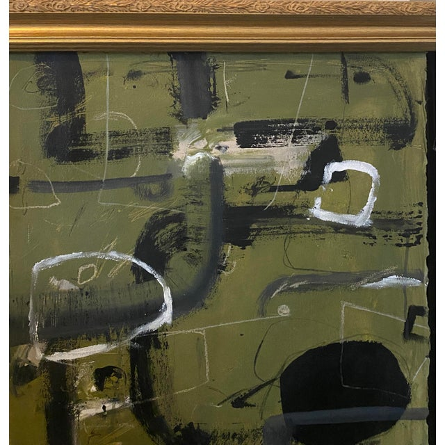 """""""Tennis Court"""" Contemporary Painting by Joe Turner in Antique Frame For Sale - Image 4 of 6"""