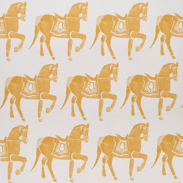 Sample - Schumacher x Molly Mahon Marwari Horse Wallpaper in Mustard For Sale