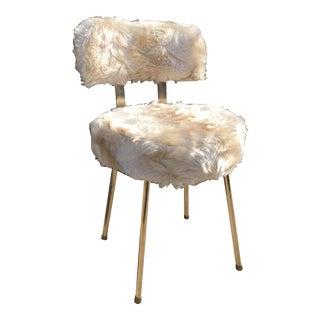 1960s Vintage Parisian Gold Metal Vanity Chair For Sale